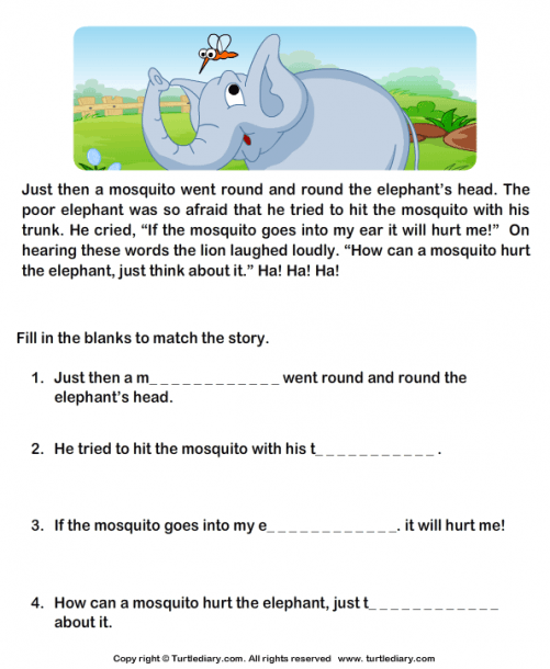 Fill In The Blanks From Comprehension Lion And Cock Worksheet