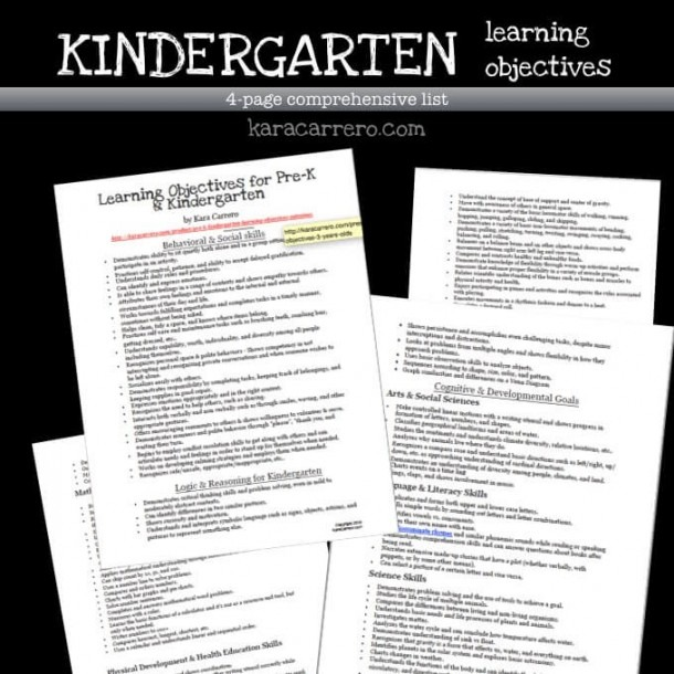 Kindergarten Learning Objectives And Outcomes + Free Printable
