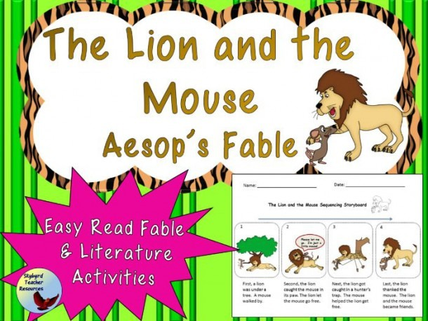 The Lion And The Mouse Aesop's Fable Reading And Comprehension
