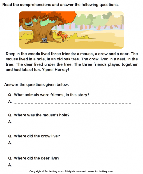 Reading Comprehension Mouse Crow And Deer Worksheet