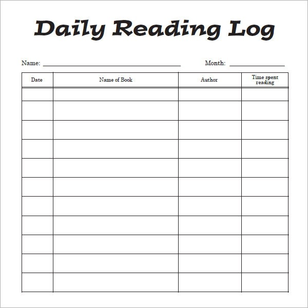 Free 12+ Sample Reading Log Templates In Pages