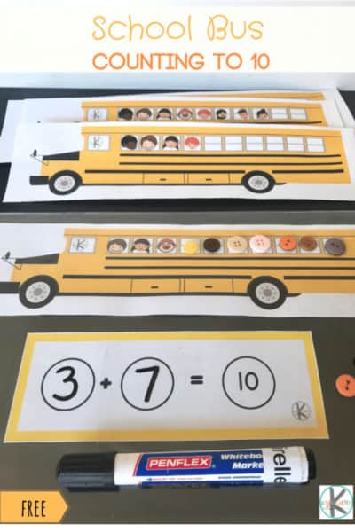 Free School Bus Counting To 10 – Kindergarten Worksheets And Games