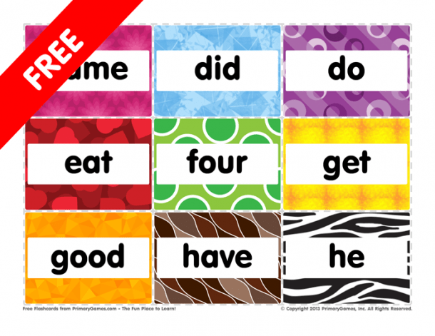 Flashcards  Kindergarten Sight Words  Came To He • Free Online