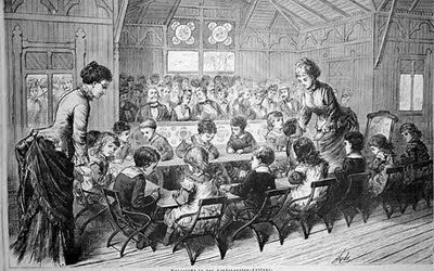 Artists Impression Of A Froebel Kindergarten Showing At The