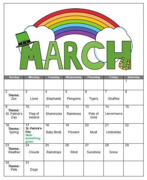 March Themes Of Preschoolers