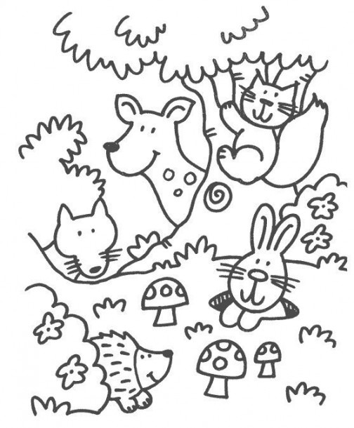 Some Coloring Pages In The Theme Forest Animals For Preschoolers