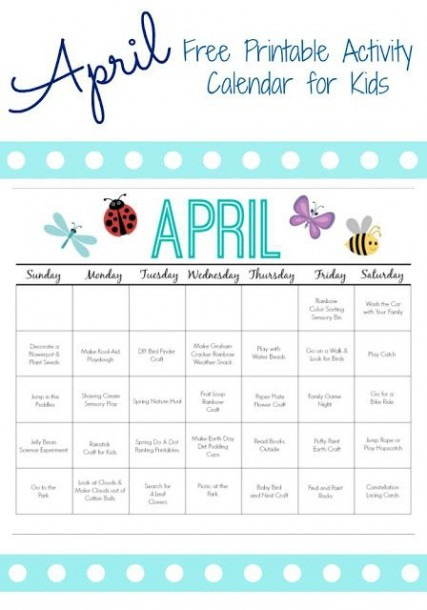Printable Activity Calendar For Kids  Free Printable From