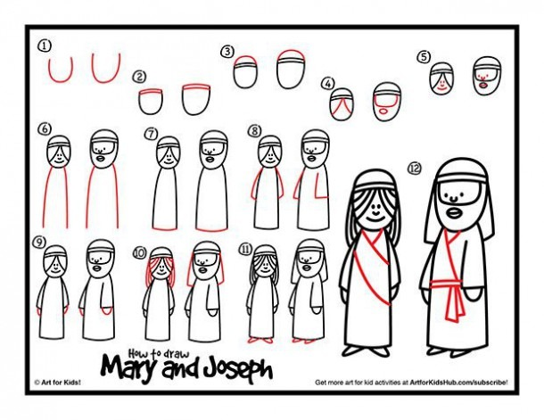 How To Draw Mary And Joseph