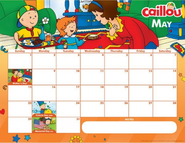 Printable Caillou Calendar – May 2016