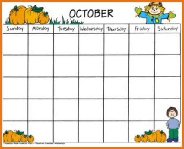Printable October Kindergarten Calendar