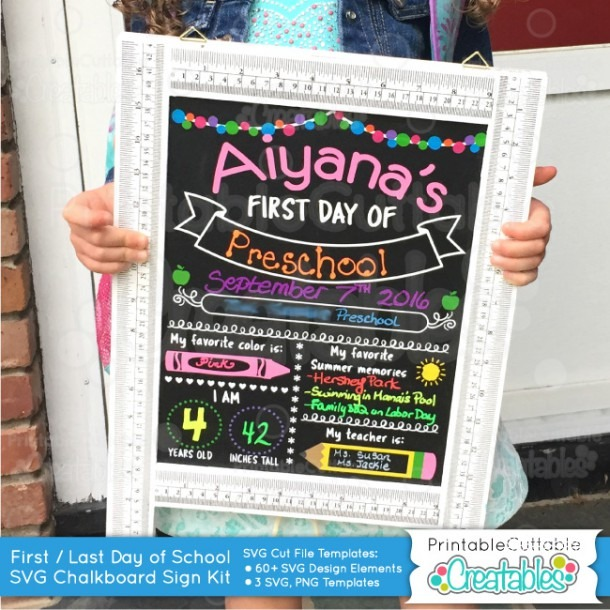 First Day Of School Chalkboard Sign Svg Cut File Kit For