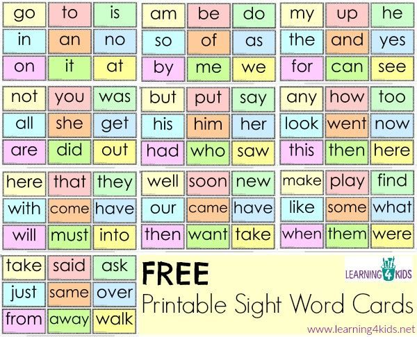 Free Printable Sight Word Cards
