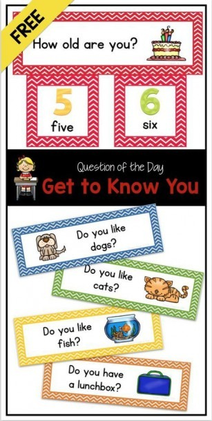 Free  Question Of The Day  Get To Know You (pocket Chart Cards