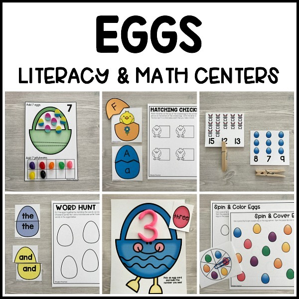Eggs Literacy & Math Centers For Easter