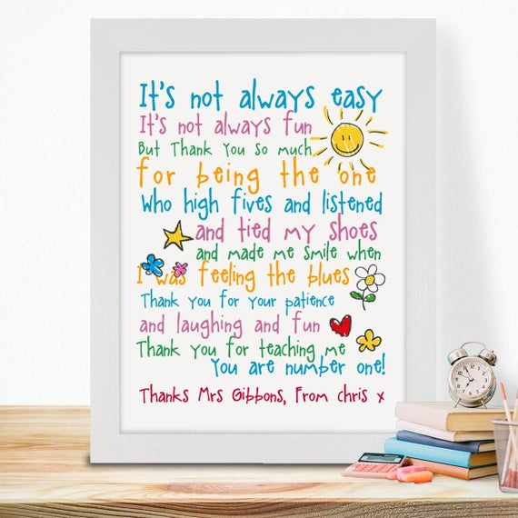 Personalised Gifts For Teachers End Of Term Year Students