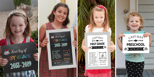 Free Printable First & Last Day Of School Signs 2018