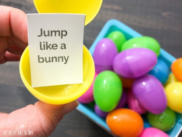 Spring Movement Game Using Plastic Eggs + Free Printable Action