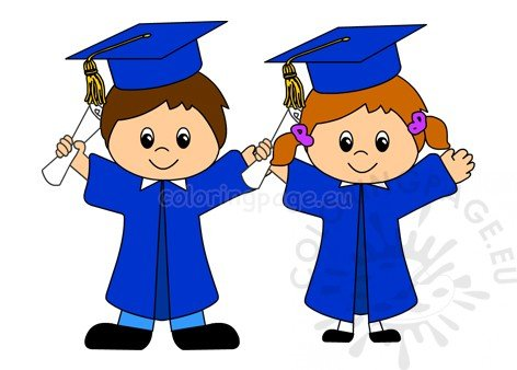 Kindergarten Graduation Caps And Gowns – Coloring Page