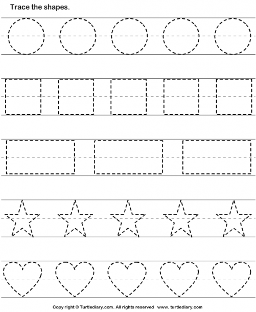Trace The Shapes Worksheet