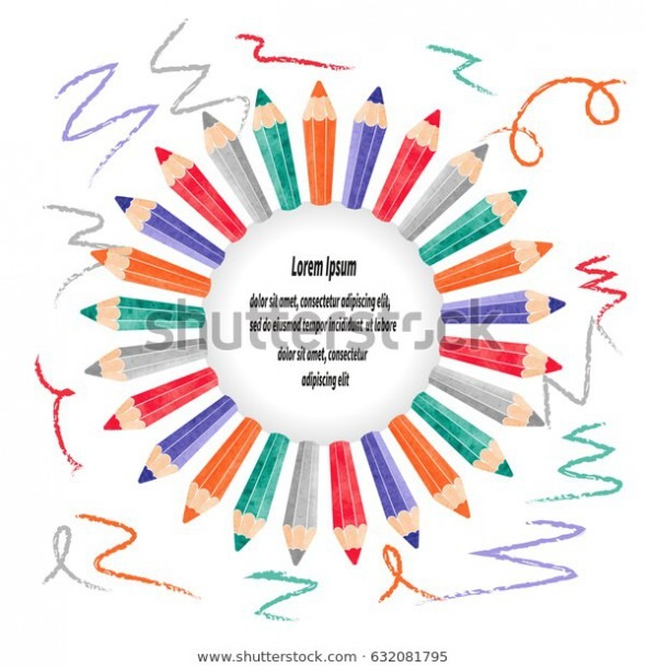 Vector Border Frame Colorful Pencils Childrens Stock Vector