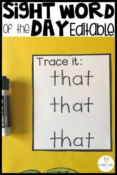Sight Words Of The Day {editable} Calendar Companion