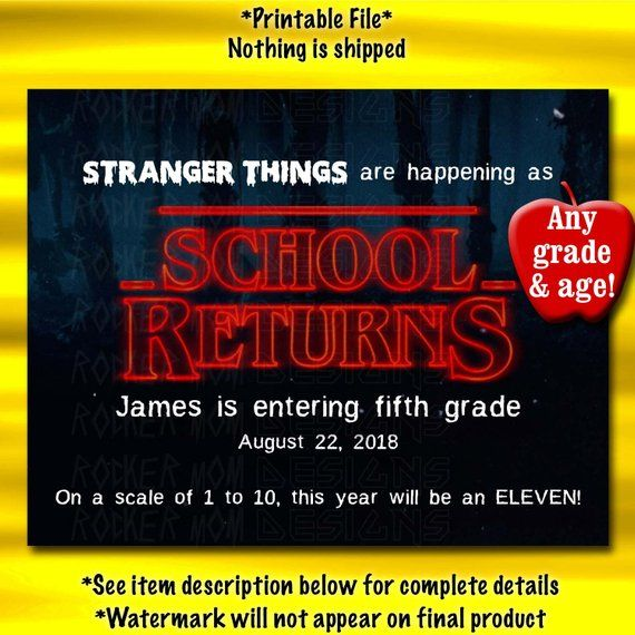 Stranger Things, First Day Of School Sign, Back To School Sign