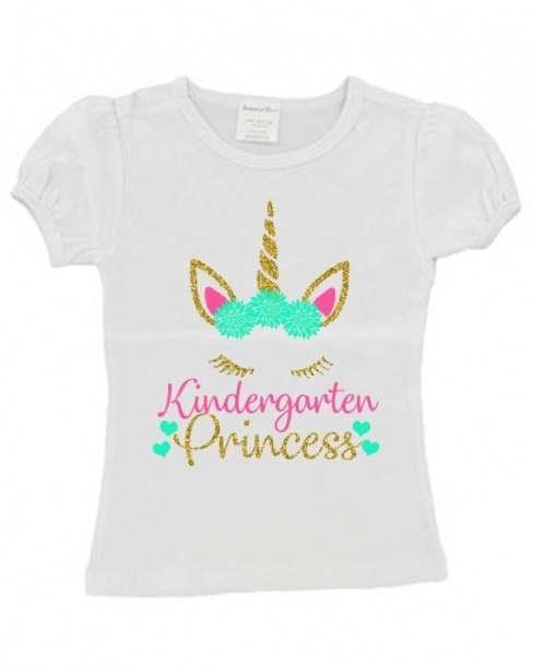 Back To School Glitter Unicorn Princess Girls Shirt Kindergarten
