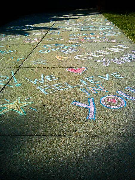 Classes Use Sidewalk Chalk For Motivational Quotes Around School