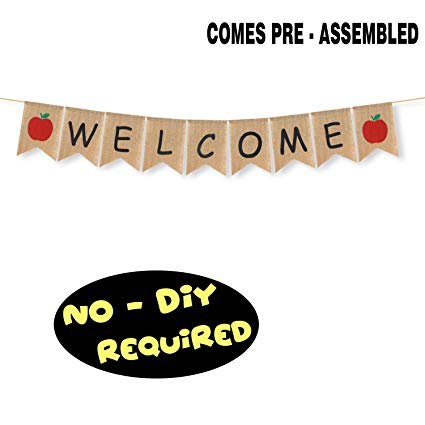 Amazon Com  Welcome Burlap Bunting Banner Apple Sign Home