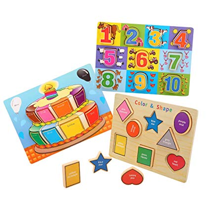 Amazon Com  Kids Toyland Classic Wooden Puzzles Set Toddlers