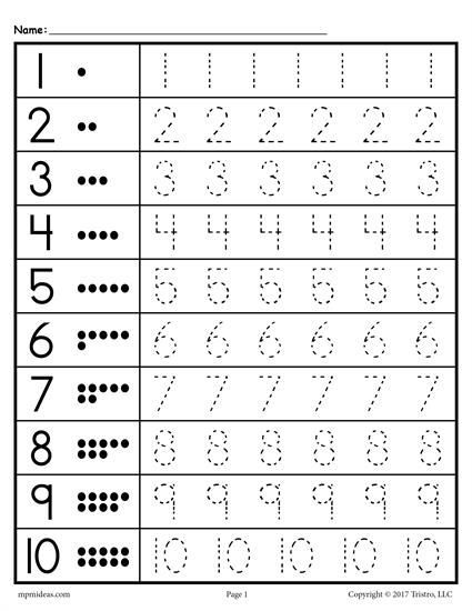 Tracing Worksheets Numbers 1