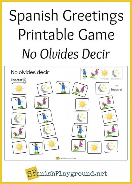 Spanish Greetings Game With Printable Board