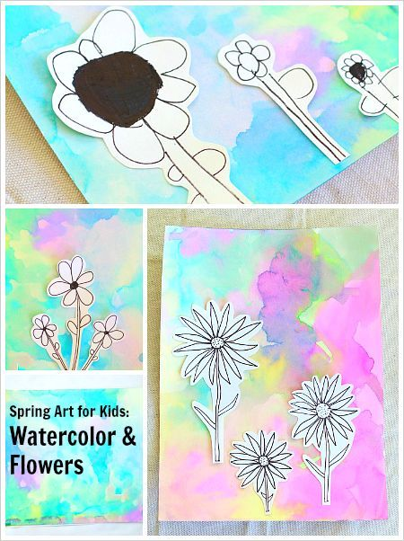 Spring Art Projects  Flowers On Watercolor Background
