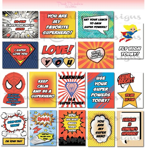 Superhero Lunch Box Note Cards With Motivational Messages For Kids