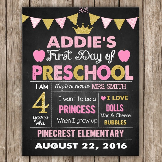 First Day And Last Last Day Of Kindergarten Sign,princess Pink And
