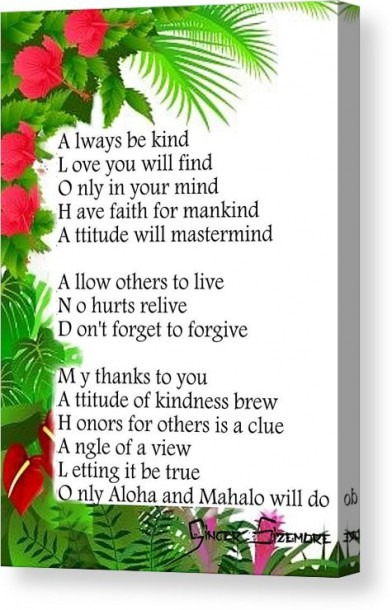 Aloha And Mahalo Poem Art Canvas Print   Canvas Art By Ginger Sizemore