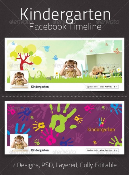 Kindergarten Facebook Timeline  Graphicriver Simple, Clean And