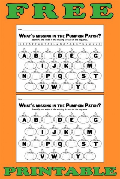 Missing Letters In The Pumpkin Patch  Printable Alphabet Worksheet