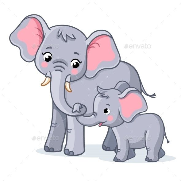 Family Of Elephants On A White Background
