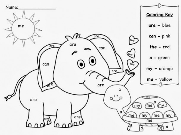 Color Words Coloring Pages For Kindergarten