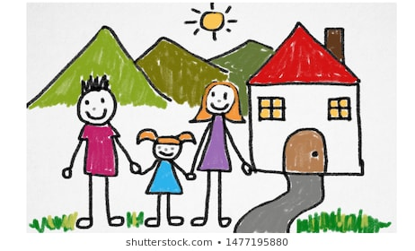 Child+draw+house Images, Stock Photos & Vectors