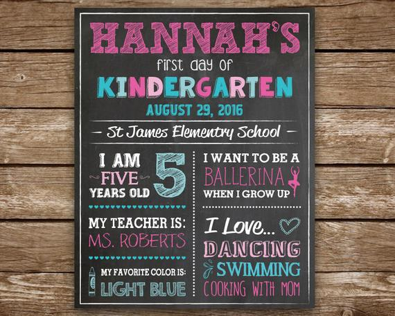 First Day Of School Sign First Day Of Kindergarten Chalkboard