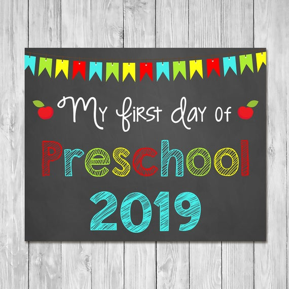 First Day Of Preschool 2019 Chalkboard Sign Printable Photo