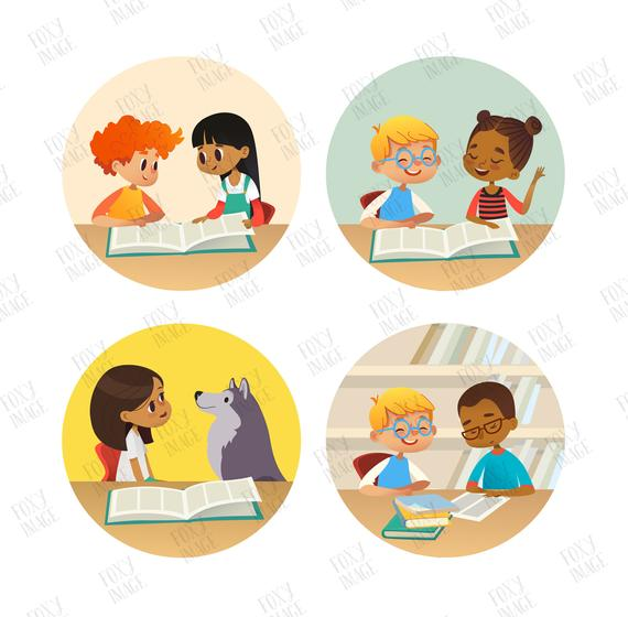 Kindergarten Kids Book Reading Kids In A Library Png Kids