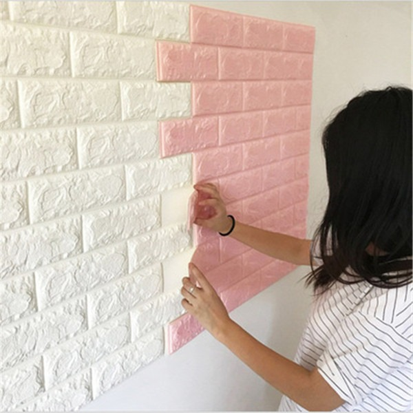 3d Self Adhesive Brick Wall Sticker Anti Collision Foam Wood