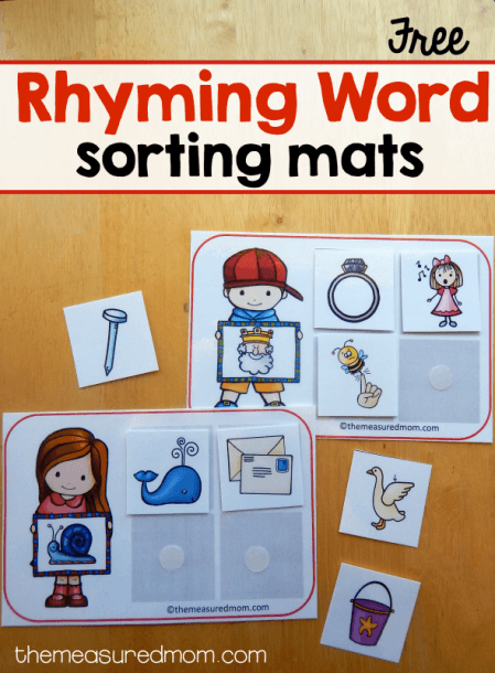 14 Free Sorting Mats For Rhyming Words