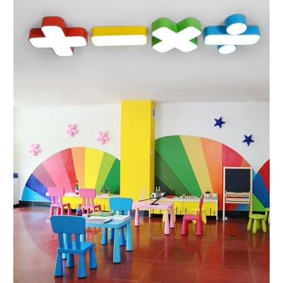Plus Minus Multiply Divide Flushmount Contemporary Kindergarten