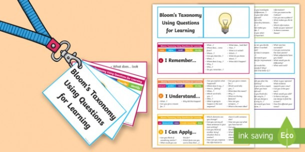 Lanyard Sized Bloom's Taxonomy Questions For Learning Cards
