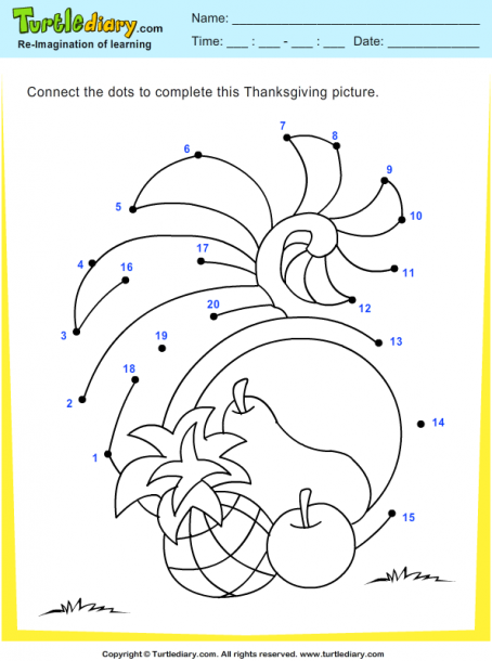 Thanksgiving Connect The Dots By Numbers Cornucopia Worksheet