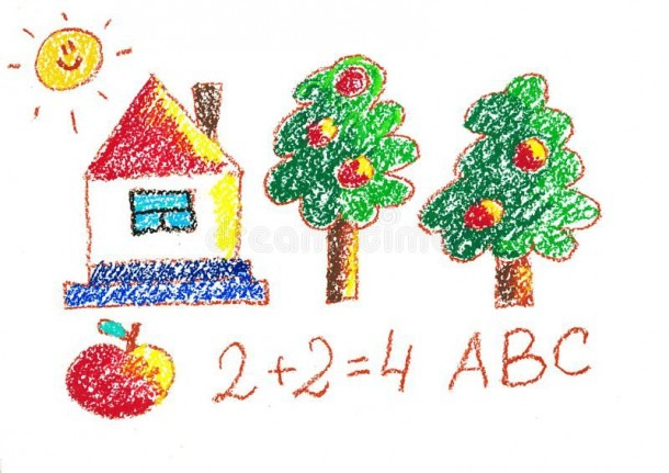 Trees And House  Kindergarten Illustration  Apple And Numbers  Abc